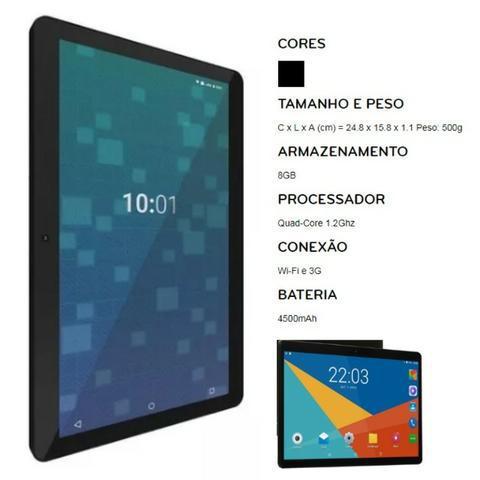 """Tablet 10"""" 8GB preto com memória RAM 1GB"""