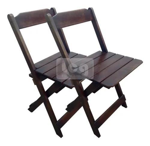 2 Cadeiras Dobrável Bar E Restaurante Madeira Maciça Preto