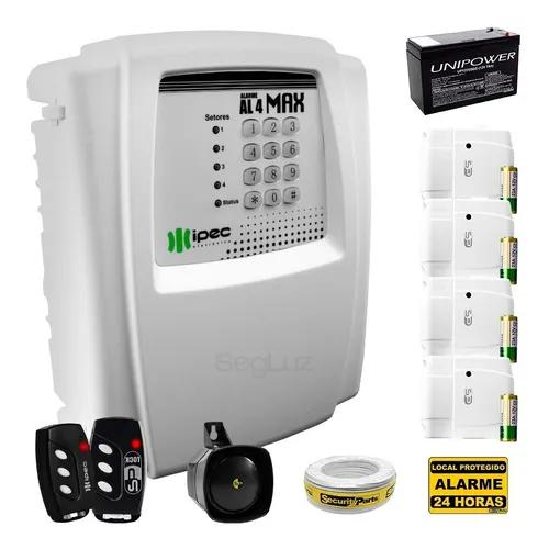 Kit Alarme Residencial C/ Discadora 4 Sens 2 Control Bateria