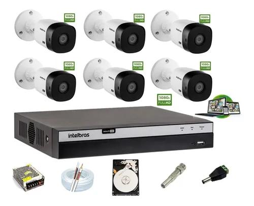 Kit Intelbras 6 Cam 1220b Fullhd Dvr 8 Mhdx 3108 Hd 1 Tera