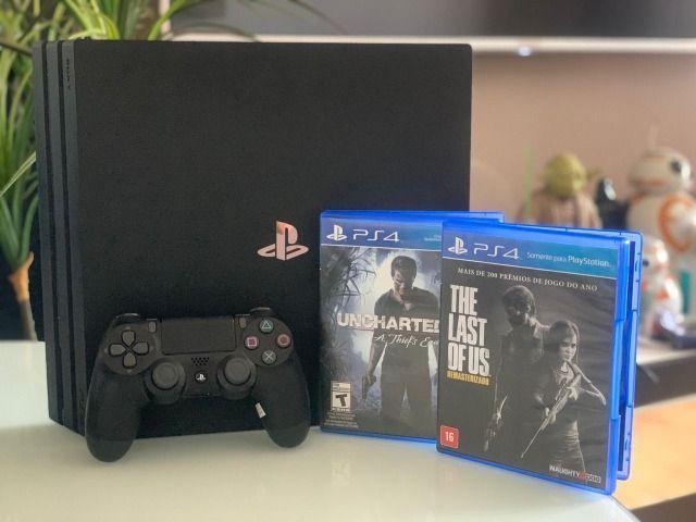 PS4 Pro 1 controle 2 jogos 2.499,00 em dinheiro ou