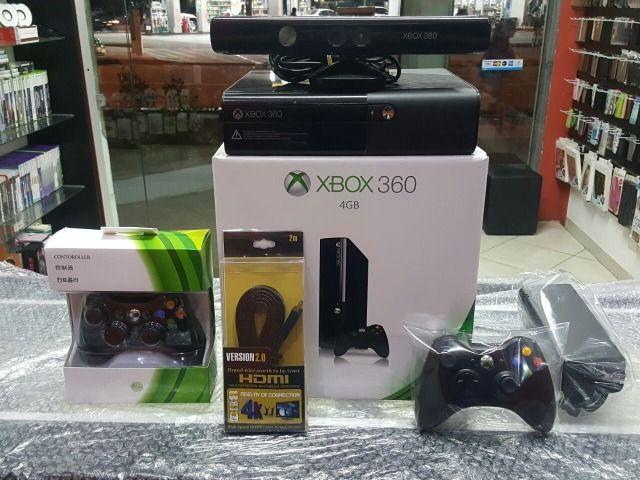 Xbox 360 Completo com Kinect /Destravado com HD 500GB c/8000