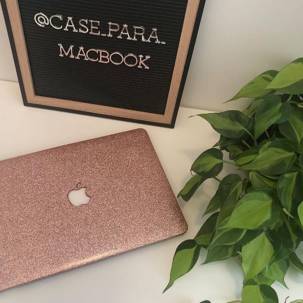 case capa macbook pro 13 glitter rosa pink c/ película