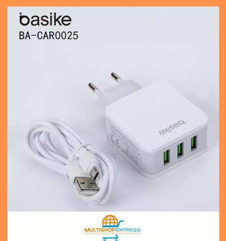 Carregador de Parede Triplo USB Carga Rápida para Celular