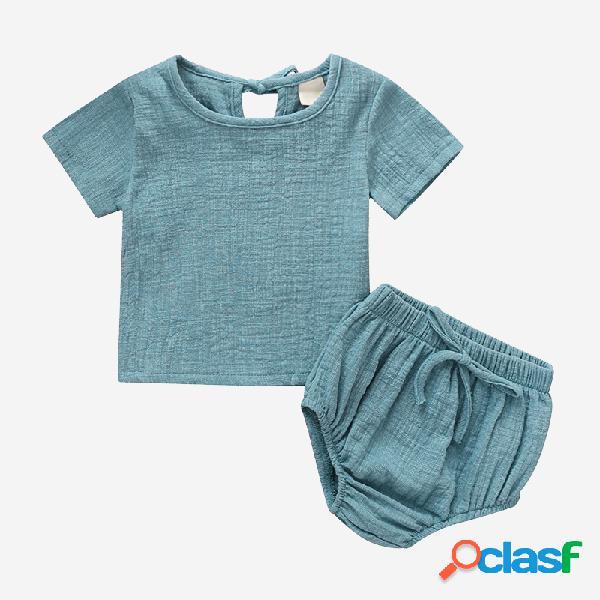 Conjunto de roupas de algodão e linho de mangas curtas de