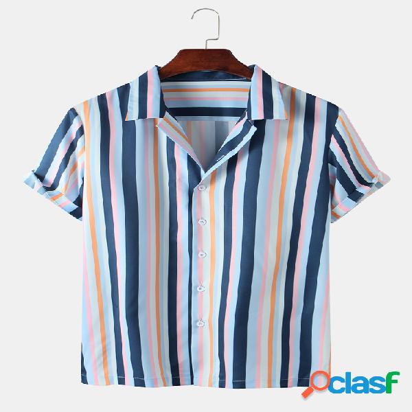 Mens Multi Color Striped Printed Botões Camisa