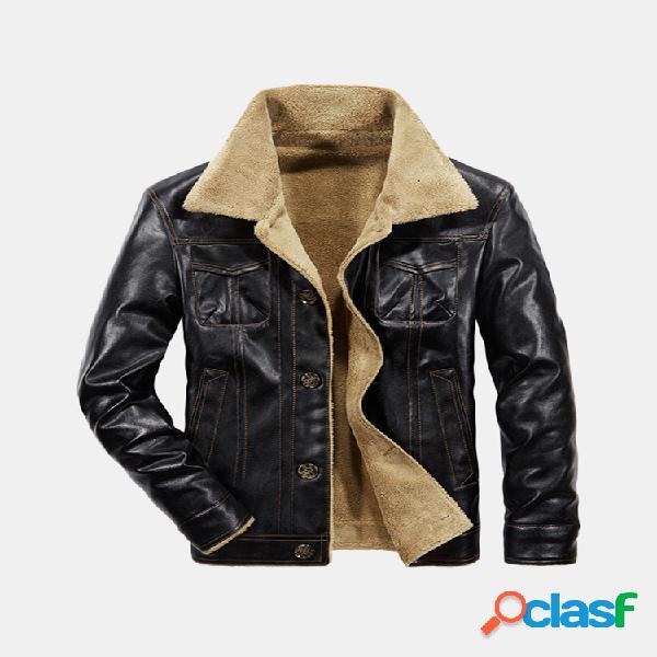 Mens inverno casual negócios engrossar velo forro jaqueta