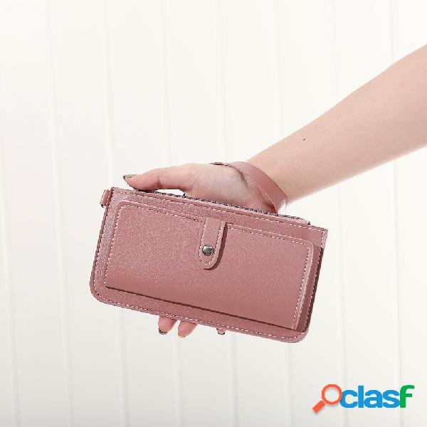 Mulheres Faux Leather Solid Multi-função longa carteira 12