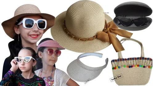 Bolsa Praia Infantil + Chapéu Menina 4 Até 8 Anos +