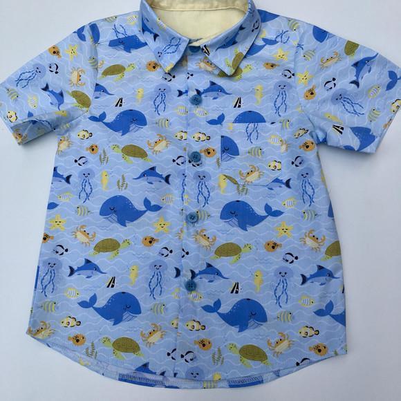 Camisa fundo do mar azul