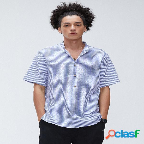 Homens Cotton Striped Print Casual Loose Collar Camisas de