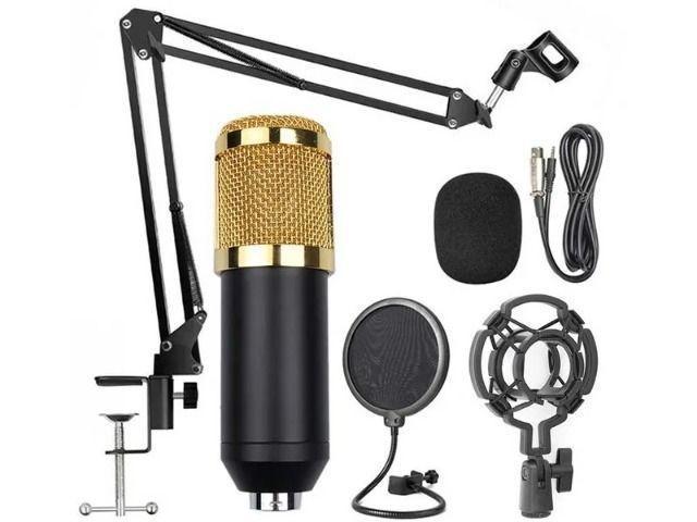 Kit Microfone Condensador Braço Articulado Pop Filter P2