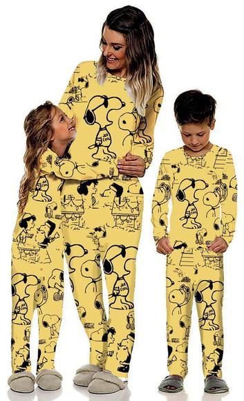 Kit de Pijama Tal Mãe Tal Filha ou Filho Snoopy