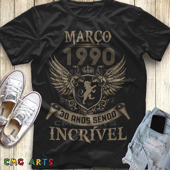 camiseta fabricado em 1990 30 anos sendo incrível
