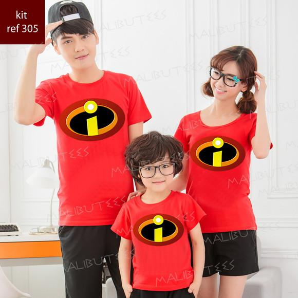kit com 4 camisetas os incriveis