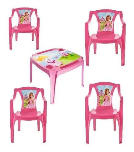 Conj. Mesa Mesinha Infantil C/ 4 Cadeiras Princesas+ Brinde