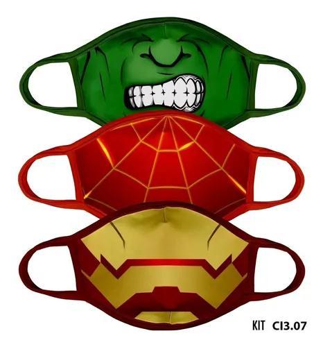 Kit 10 Und Máscara Proteção Tecido Infantil Estampada