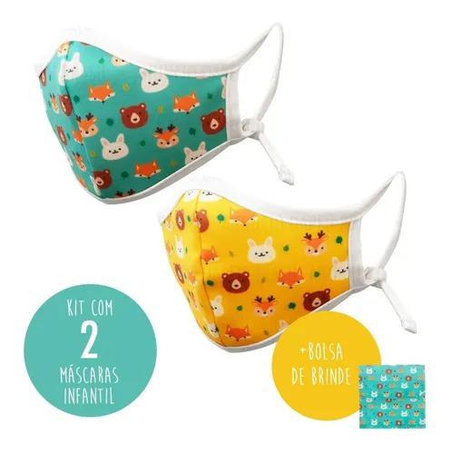 Kit 2 Máscara Facial Protetora Infantil Tecido