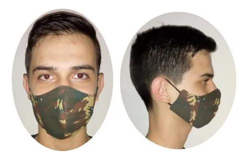 Kit 2 Máscara Infantil Camuflada Tecido 100% Algodão