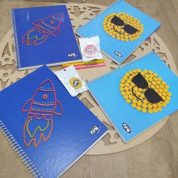 Kit escolar Fini completo (4 cadernos, 2canetas e 2 pop