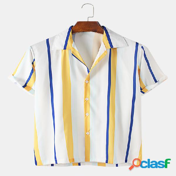 Mens Color Striped Designer Casual Lapel Collar Camisas de