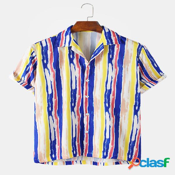Mens Multi Color Striped Casual Camisas de manga curta