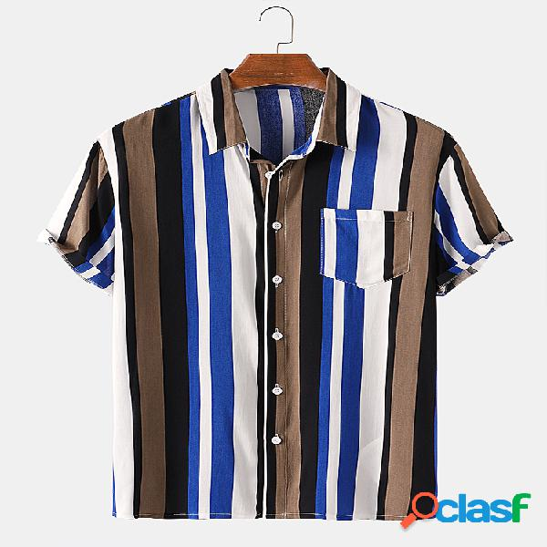 Mens Multi Color Striped Casual Peito Pocket Light Camisas