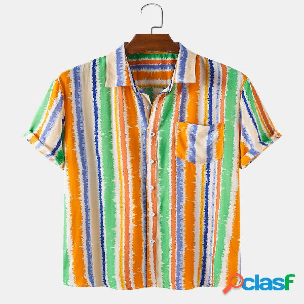Mens Multi Color Striped Holiday Chest Pocket Camisas de
