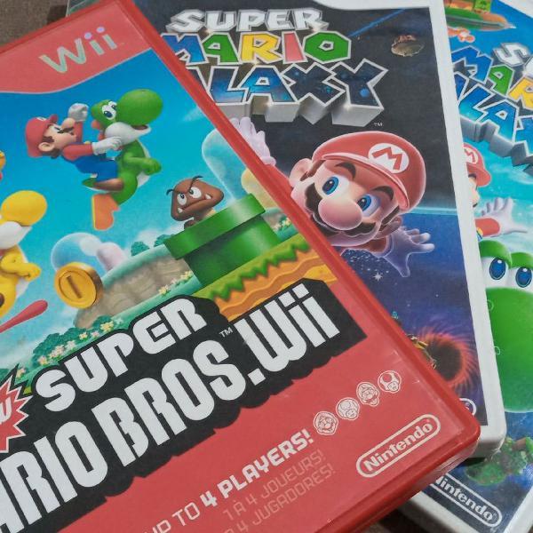 Super Mario Bros.Wii e Mario Galaxy 1 e 2 Originais