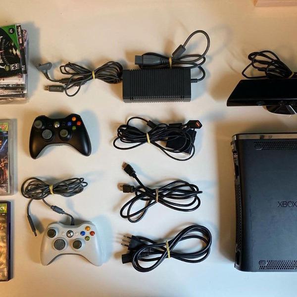 xbox 360 120gb desbloqueado + consoles + kinect + 24 jo