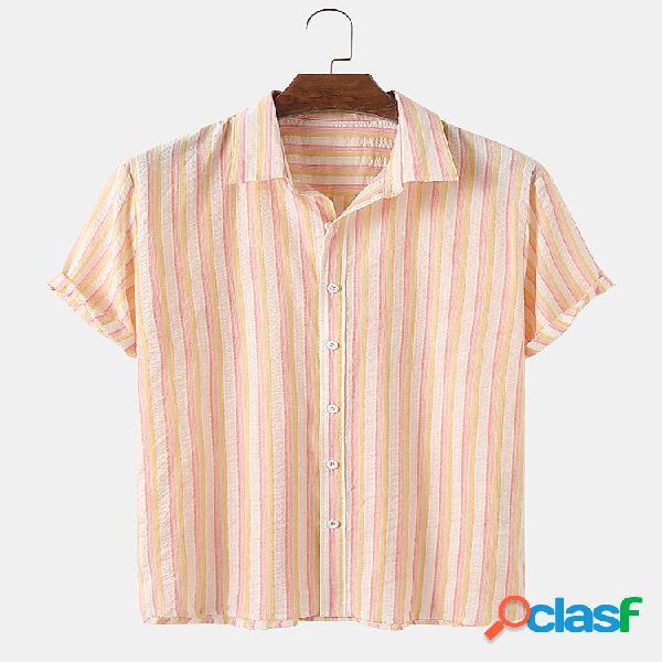 Mens Cotton Colorful Stripe Print Casual Light Camisas de