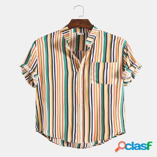 Mens Ethnic Multi Color Striped Casual Rodada Hem Camisas de