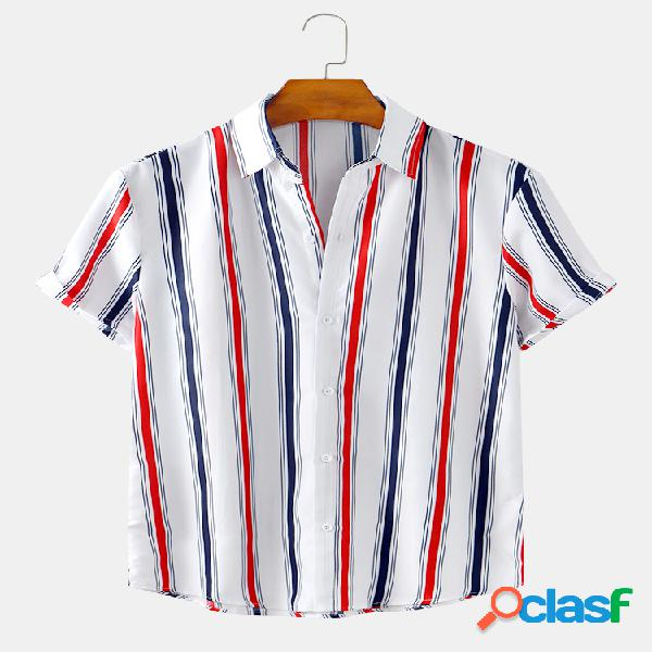 Mens Holiday Style Striped Printed Light Casual Camisas de