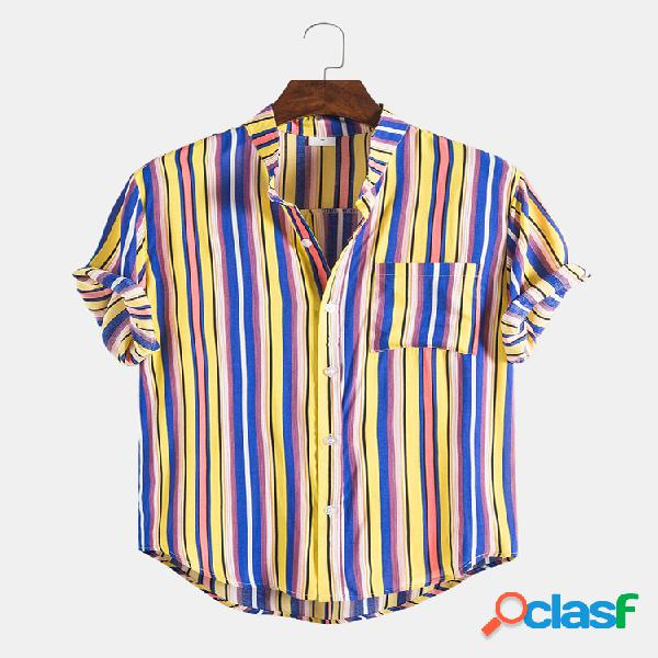 Mens Multi Color Striped Casual Peito Pocket Round Hem