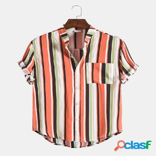 Mens Multi Color Striped respirável peito bolso camisas de