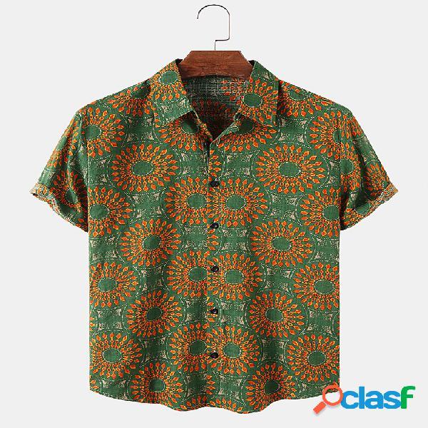 Mens Retro Ethnic Vintage Print Casual Light Camisas de