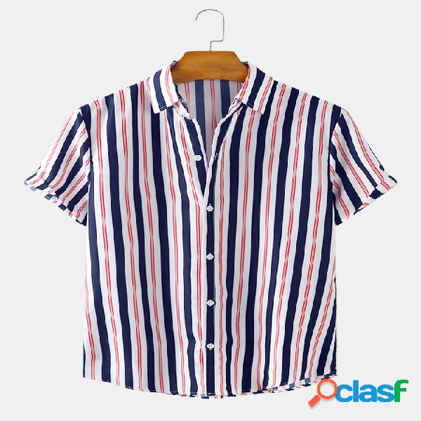 Mens Striped Printed Light Casual Camisas de manga curta