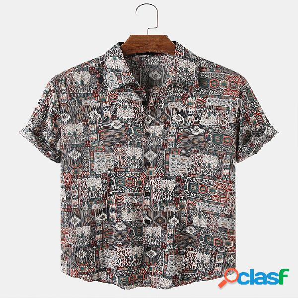 Mens Vintage Retro Style Print Respirável Casual Camisas de