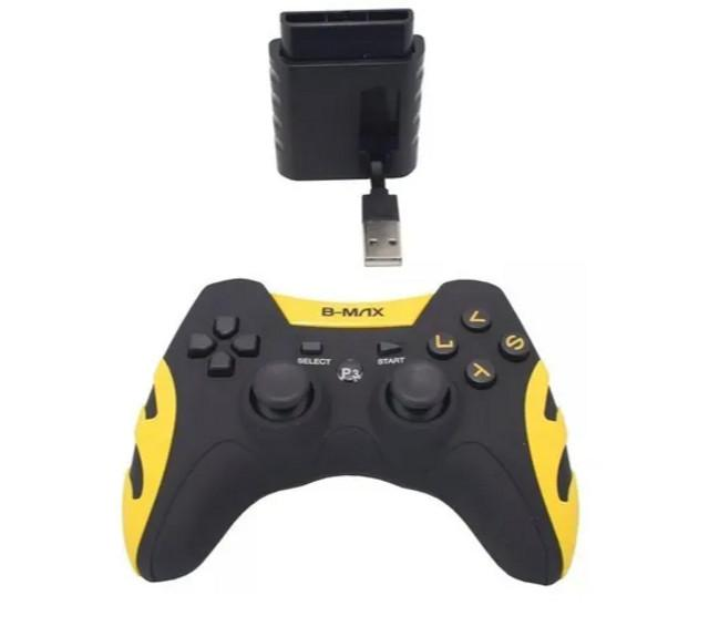 NOVO)Controle Videogame Sem Fio B-max 4 Em 1 Ps1 Ps2 Ps3 Pc
