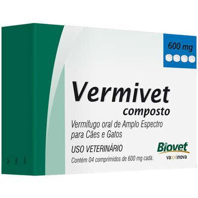 Vermífugo Biovet Vermivet Composto 600 mg para Cães e