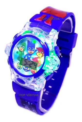 Relógio Pjmasks Infantil Com Som E Luzes Azul 3d Original