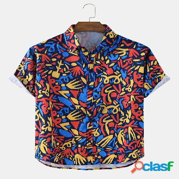 Mens Colorful Abstract Print Loose Light Casual Camisas de