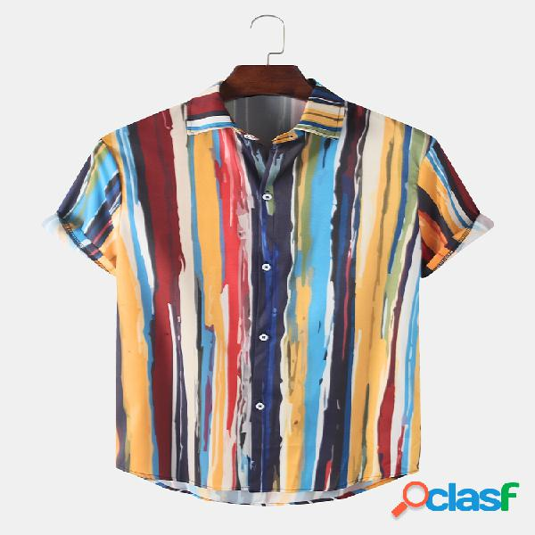 Mens Colorful Striped Printed Light Casual Camisas de manga