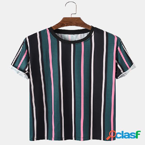 Mens Colorful Stripes Print Casual Loose Light O-Neck
