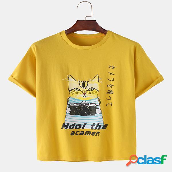 Mens Funny Cartoon Cat Print Loose Light Casual O-Neck