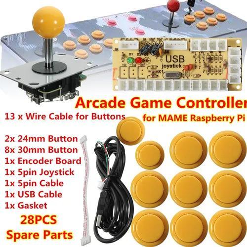 28 Pcs Amarelo Zero Delay Arcade Game Controller Usb Joystic