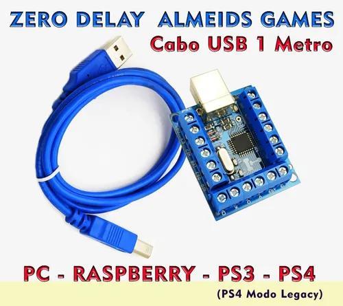 Placa Zero Delay Pc Ps3 Ps4 Modo Legacy C/ Cabo Usb 1 Metro