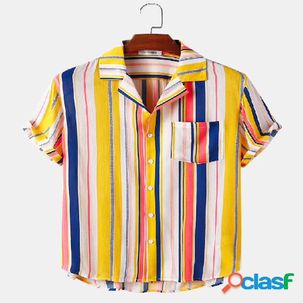 Colorful Mens Striped Print Casual Light Camisas de manga