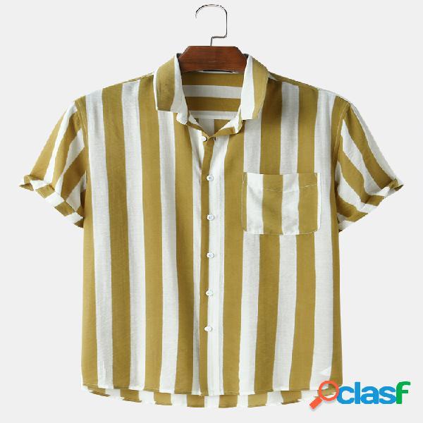 Mens Basic Vertical Stripes Print Casual Light Camisas de