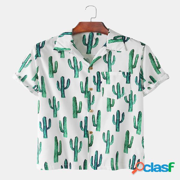 Mens Cactus Printed Light Revere Collar Camisas de manga